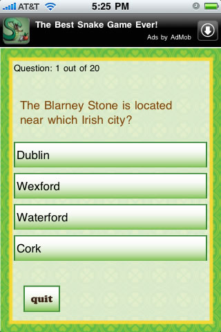 Screenshot A St. Patrick's Day Quizzle™
